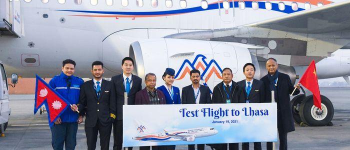 ल्हासामा हिमालय एयरलाइन्सको परीक्षण उडान